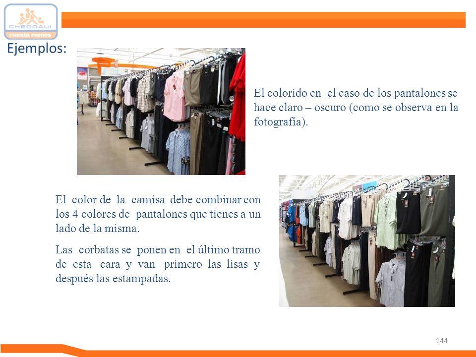 Ejemplos: El colorido en el caso de los pantalones se hace claro – oscuro (como se observa en la fotografía).