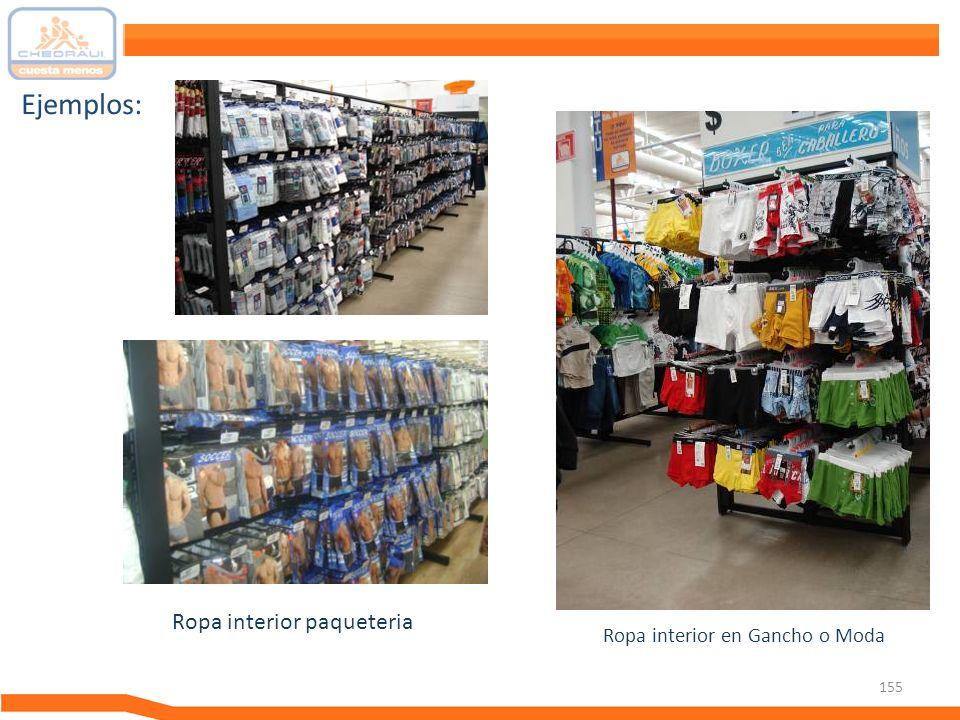 Ejemplos: Ropa interior paqueteria Ropa interior en Gancho o Moda