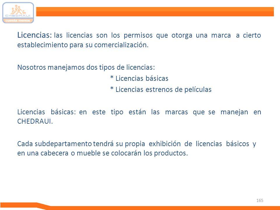 Licencias: las licencias son los permisos que otorga una marca a cierto establecimiento para su comercialización.