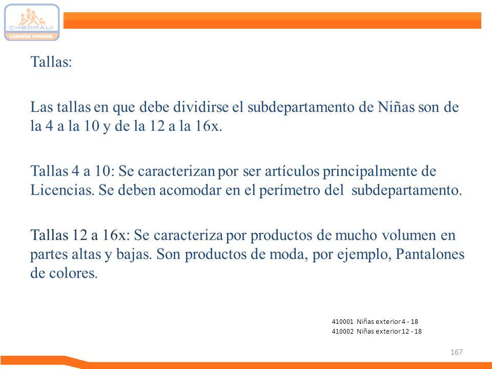 Tallas: Las tallas en que debe dividirse el subdepartamento de Niñas son de la 4 a la 10 y de la 12 a la 16x.
