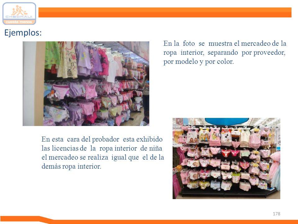 Ejemplos: En la foto se muestra el mercadeo de la ropa interior, separando por proveedor, por modelo y por color.