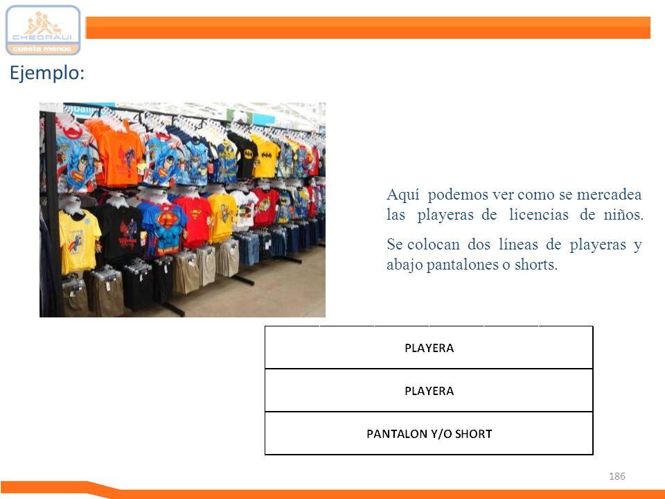 Ejemplo: Aquí podemos ver como se mercadea las playeras de licencias de niños.