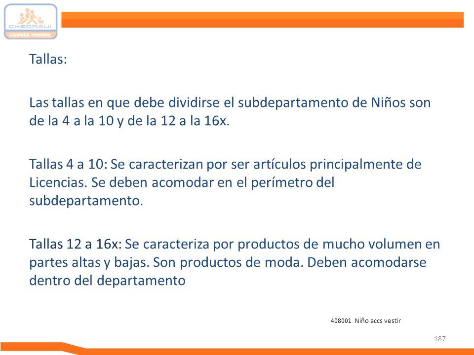 Tallas: Las tallas en que debe dividirse el subdepartamento de Niños son de la 4 a la 10 y de la 12 a la 16x.