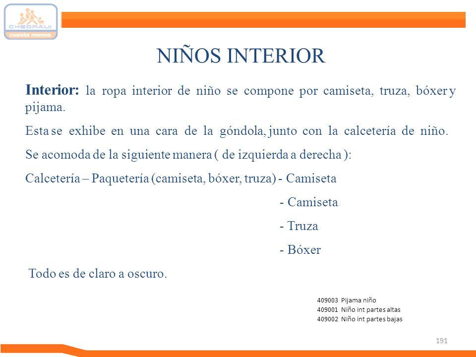 NIÑOS INTERIOR Interior: la ropa interior de niño se compone por camiseta, truza, bóxer y pijama.