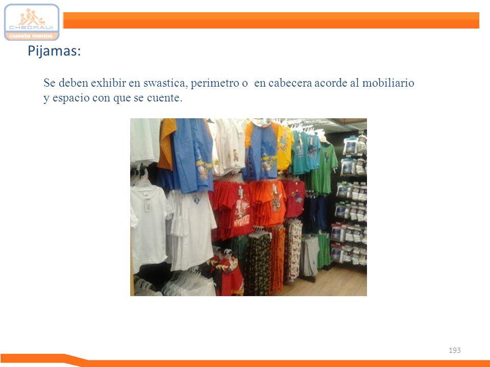 Pijamas: Se deben exhibir en swastica, perimetro o en cabecera acorde al mobiliario y espacio con que se cuente.