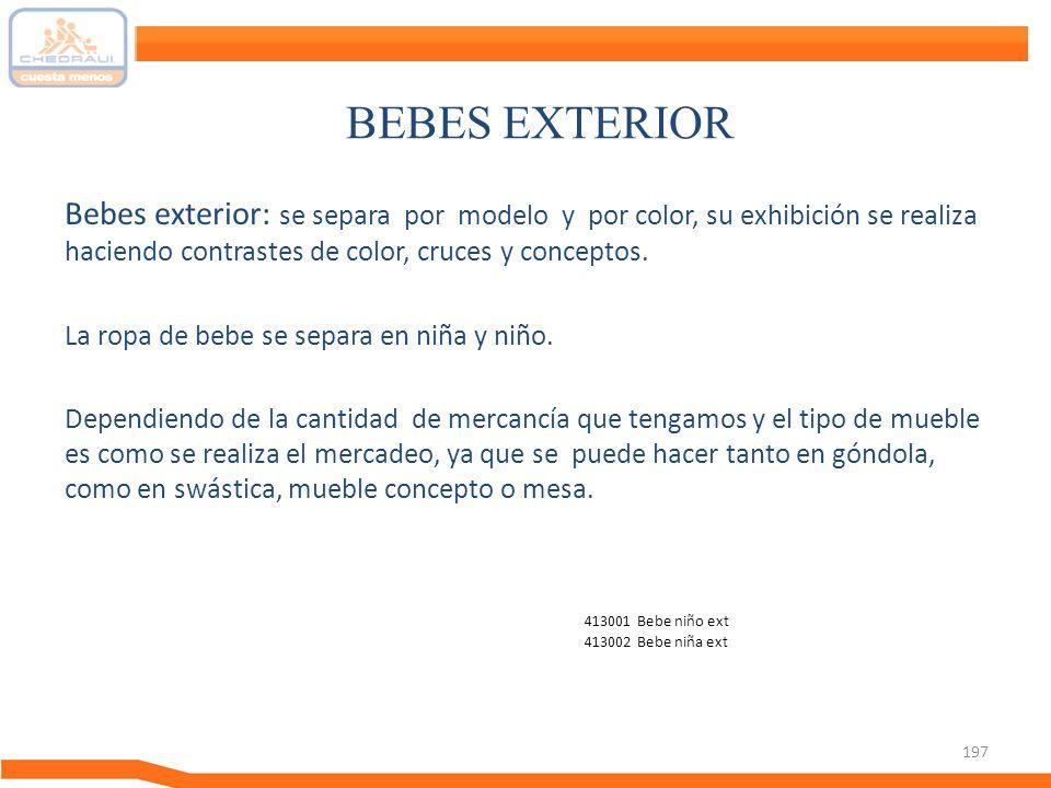 BEBES EXTERIOR Bebes exterior: se separa por modelo y por color, su exhibición se realiza haciendo contrastes de color, cruces y conceptos.