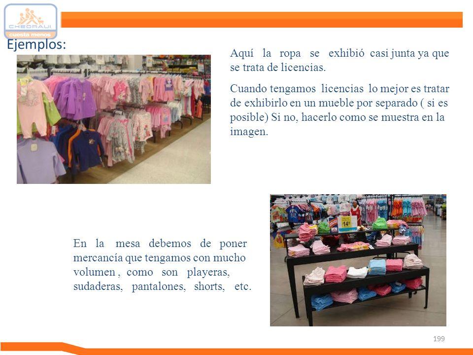 Ejemplos: Aquí la ropa se exhibió casi junta ya que se trata de licencias.