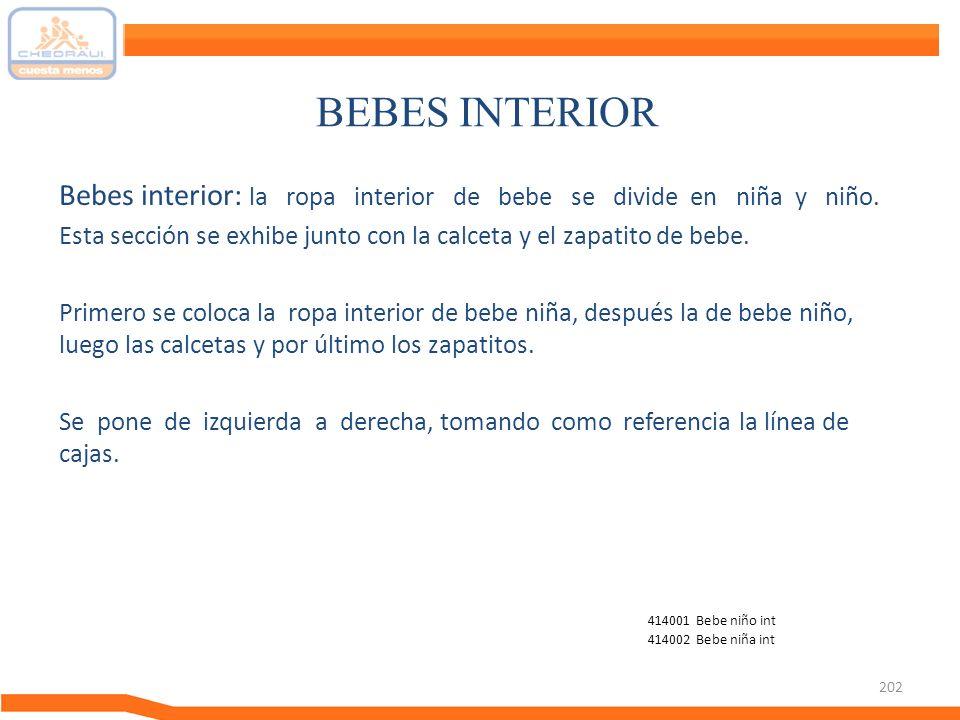 BEBES INTERIOR Bebes interior: la ropa interior de bebe se divide en niña y niño.