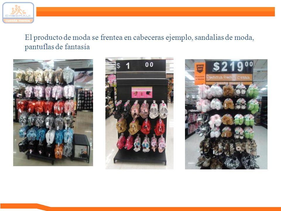 El producto de moda se frentea en cabeceras ejemplo, sandalias de moda, pantuflas de fantasía