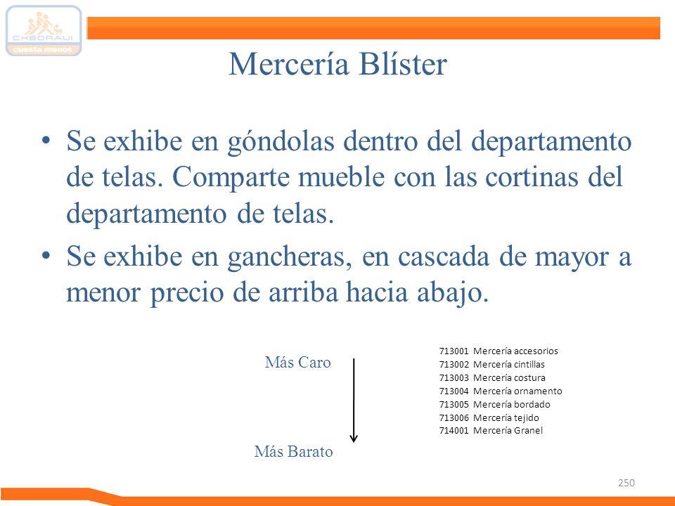 Mercería Blíster Se exhibe en góndolas dentro del departamento de telas. Comparte mueble con las cortinas del departamento de telas.