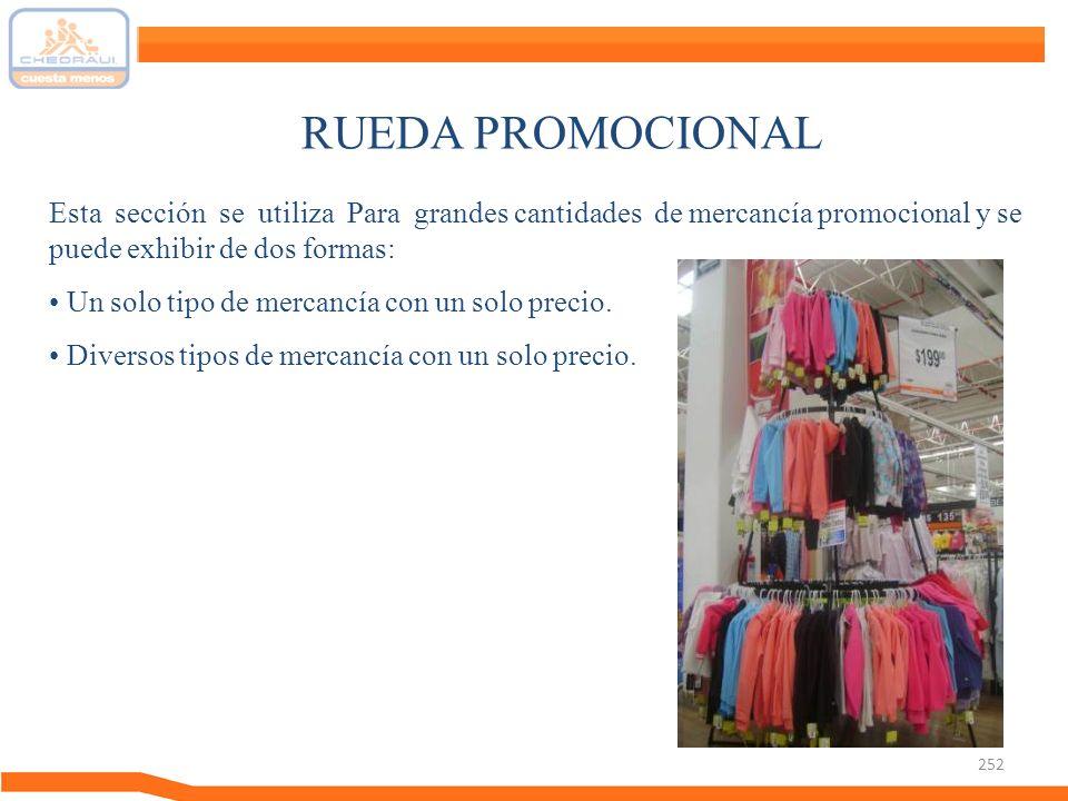 RUEDA PROMOCIONAL Esta sección se utiliza Para grandes cantidades de mercancía promocional y se puede exhibir de dos formas: