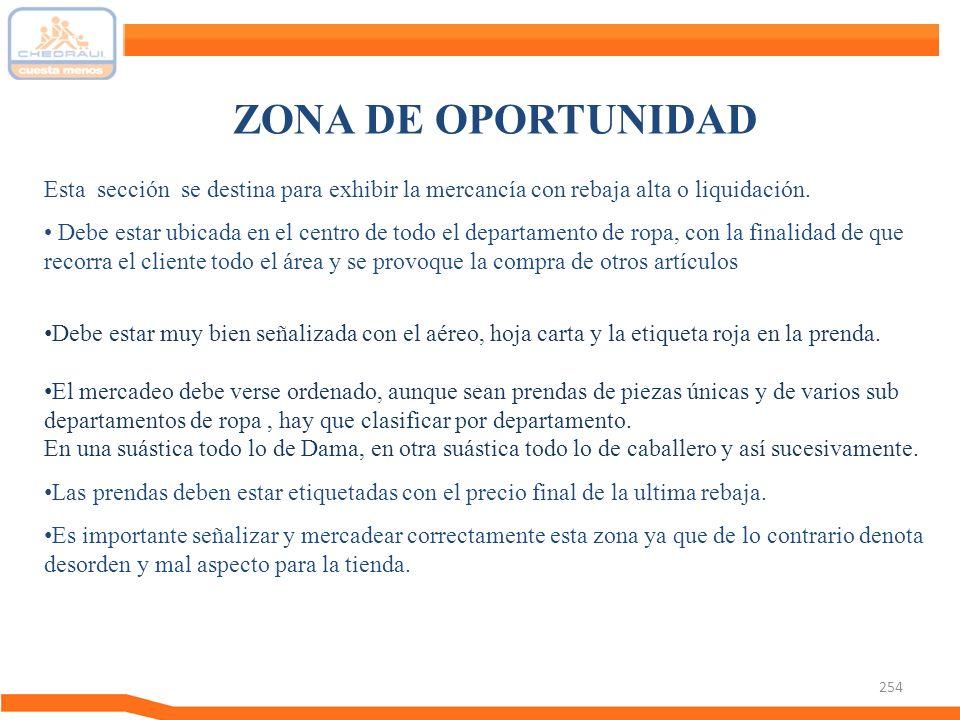 ZONA DE OPORTUNIDAD Esta sección se destina para exhibir la mercancía con rebaja alta o liquidación.