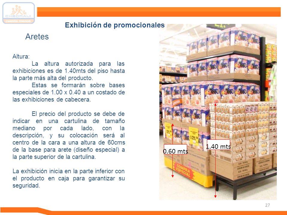 Aretes Exhibición de promocionales 1.40 mts 0.60 mts Altura: