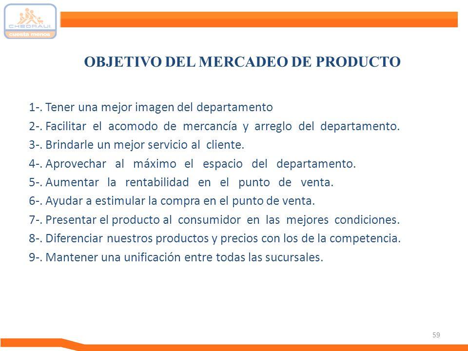 OBJETIVO DEL MERCADEO DE PRODUCTO