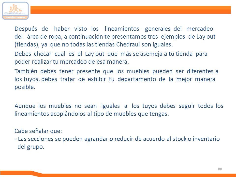 Después de haber visto los lineamientos generales del mercadeo del área de ropa, a continuación te presentamos tres ejemplos de Lay out (tiendas), ya que no todas las tiendas Chedraui son iguales.