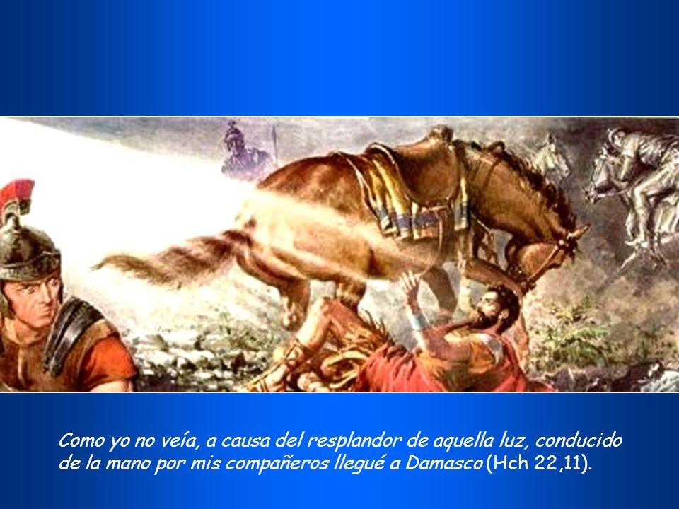 Como yo no veía, a causa del resplandor de aquella luz, conducido de la mano por mis compañeros llegué a Damasco (Hch 22,11).