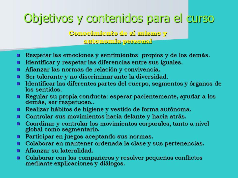 Objetivos y contenidos para el curso