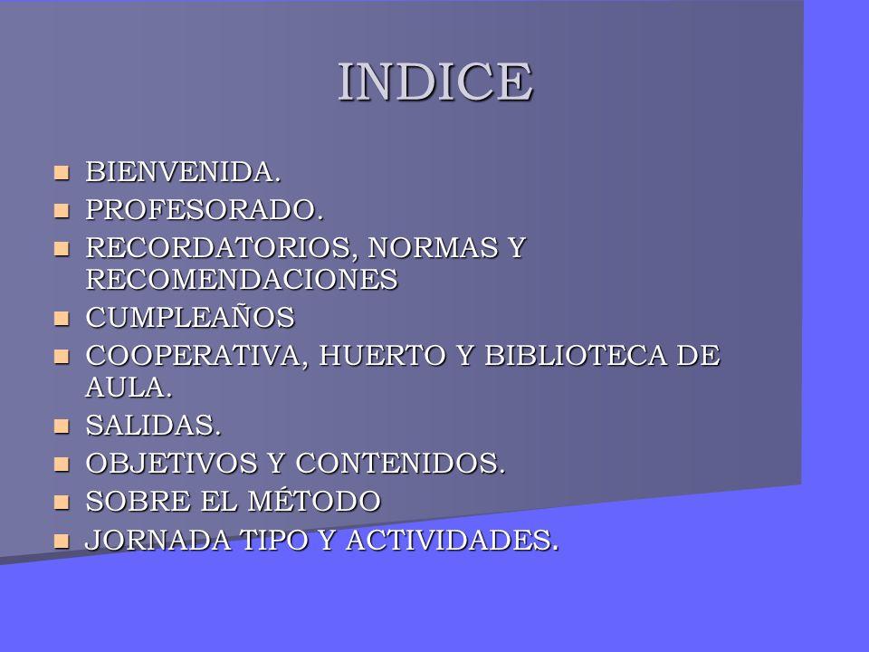 INDICE BIENVENIDA. PROFESORADO.