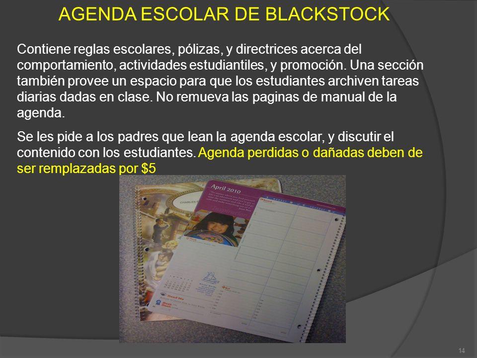 AGENDA ESCOLAR DE BLACKSTOCK