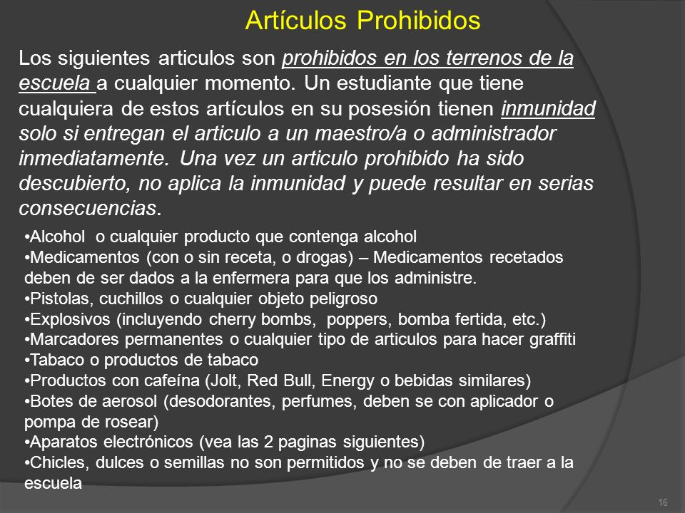 Artículos Prohibidos