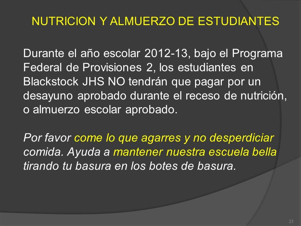 NUTRICION Y ALMUERZO DE ESTUDIANTES