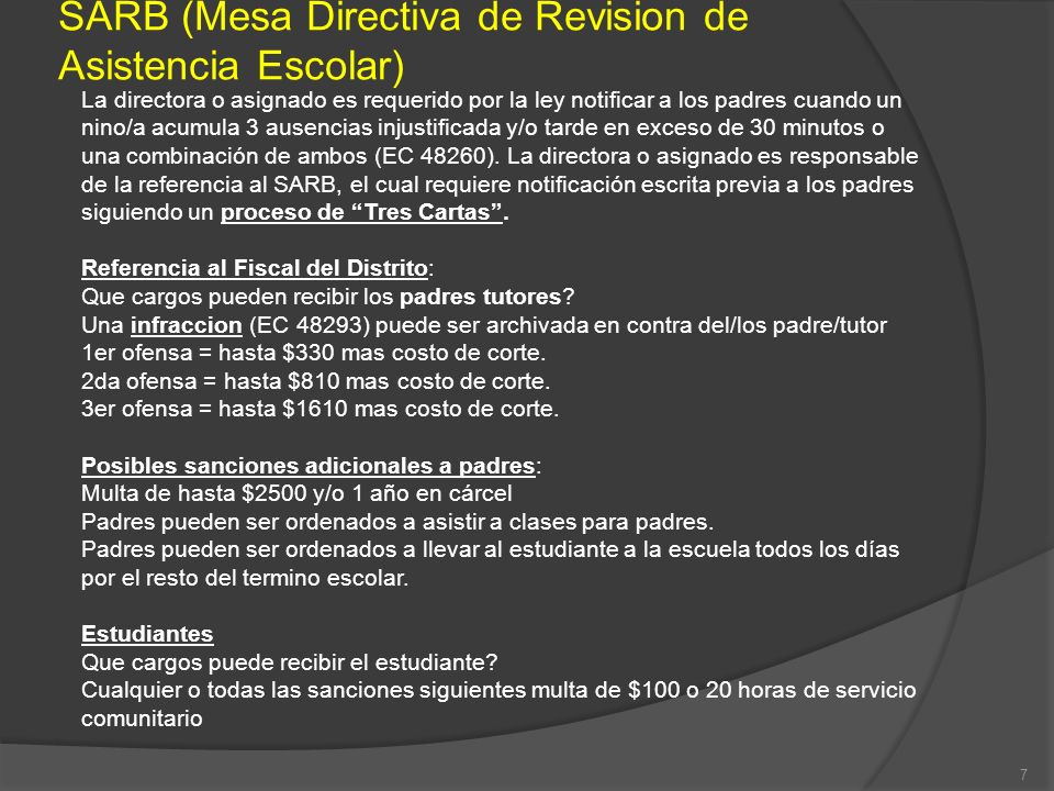 SARB (Mesa Directiva de Revision de Asistencia Escolar)