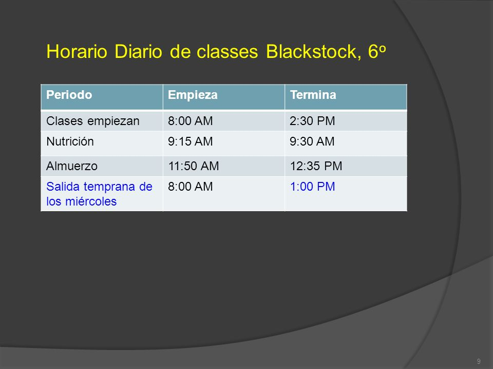 Horario Diario de classes Blackstock, 6o