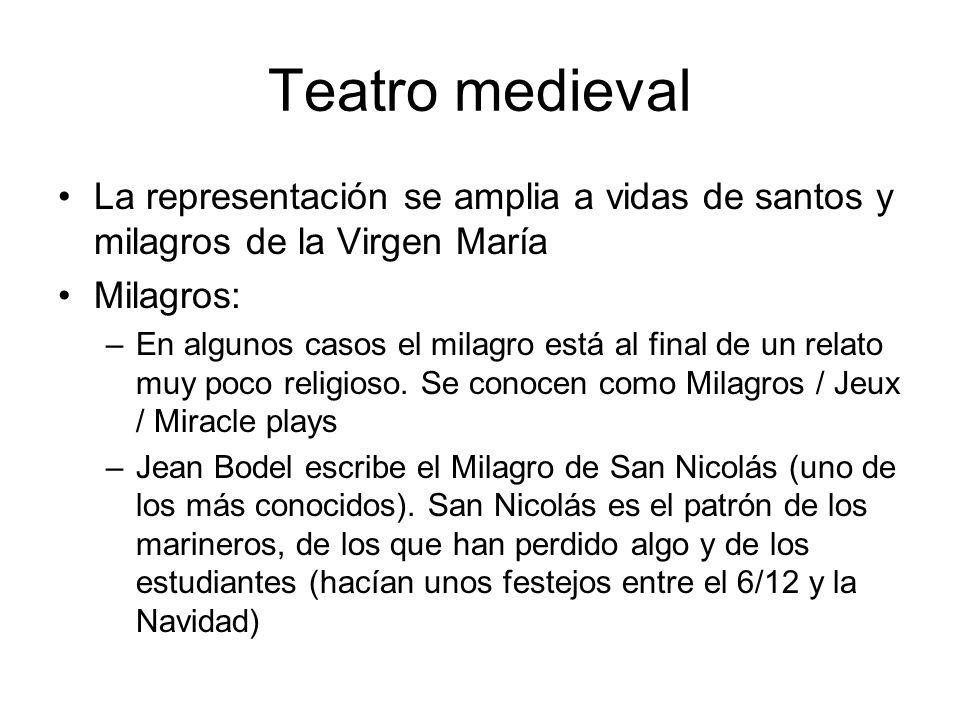 Teatro medievalLa representación se amplia a vidas de santos y milagros de la Virgen María. Milagros: