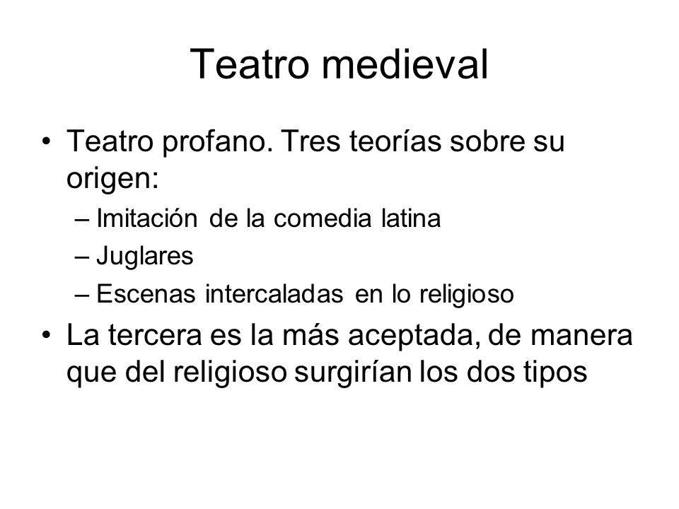Teatro medieval Teatro profano. Tres teorías sobre su origen: