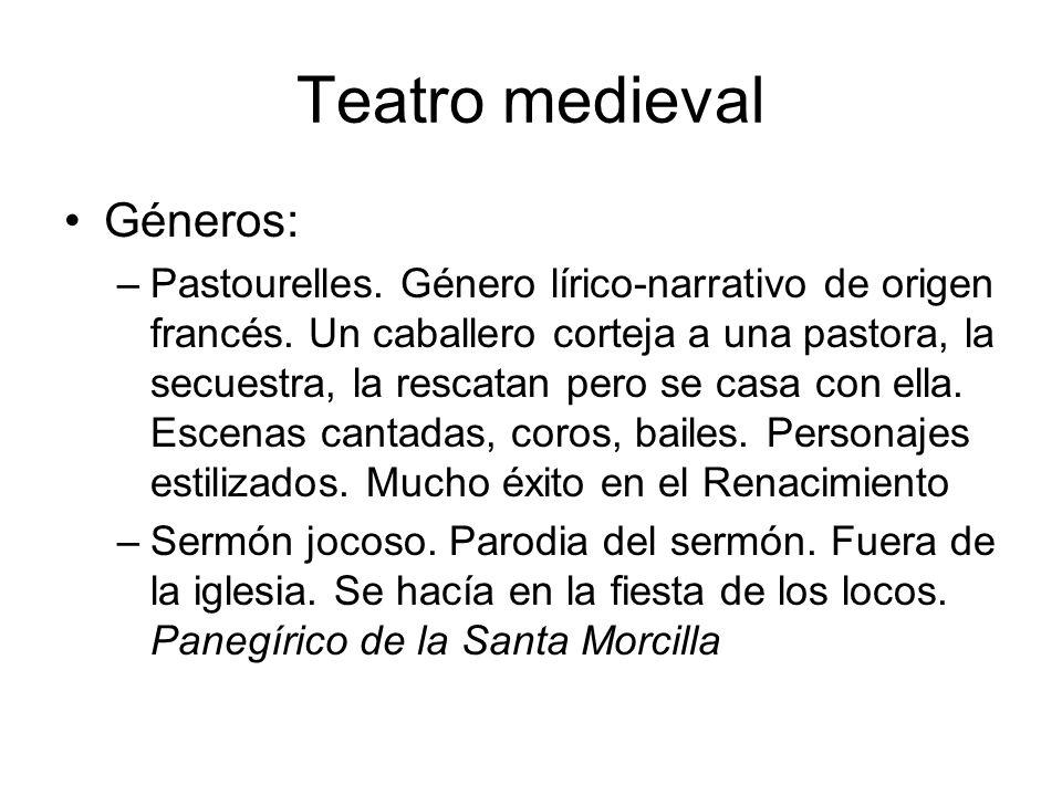 Teatro medieval Géneros: