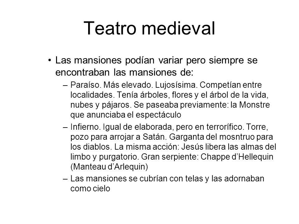 Teatro medievalLas mansiones podían variar pero siempre se encontraban las mansiones de: