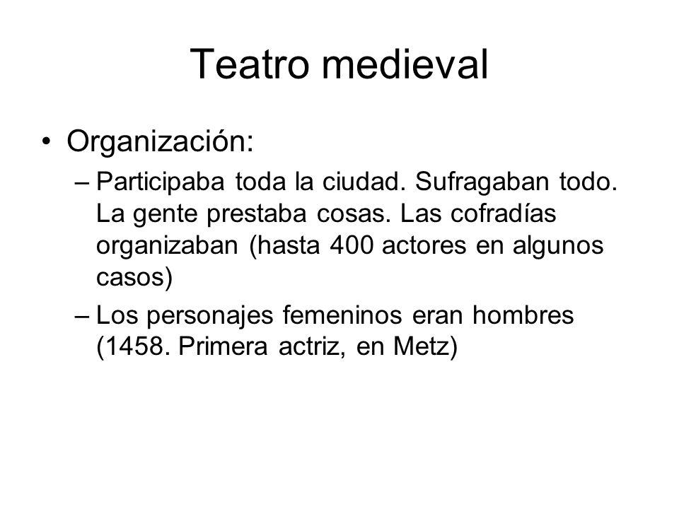 Teatro medieval Organización: