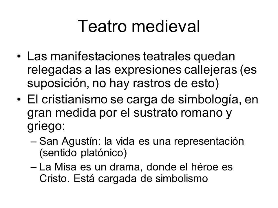 Teatro medieval Las manifestaciones teatrales quedan relegadas a las expresiones callejeras (es suposición, no hay rastros de esto)