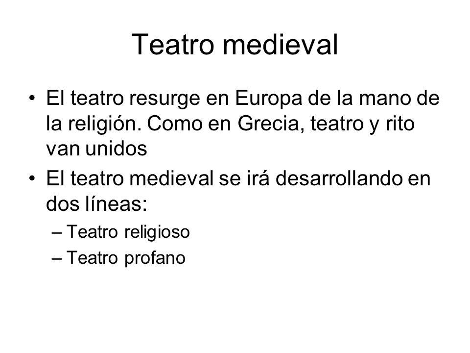 Teatro medieval El teatro resurge en Europa de la mano de la religión. Como en Grecia, teatro y rito van unidos.