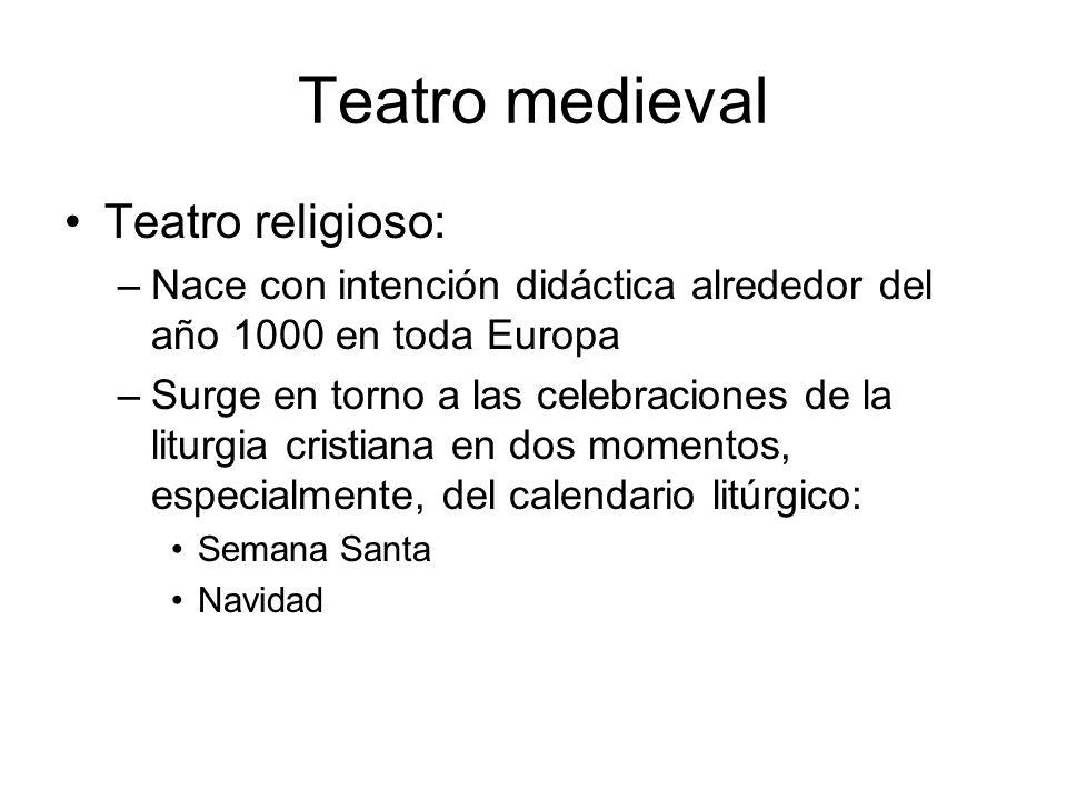 Teatro medieval Teatro religioso: