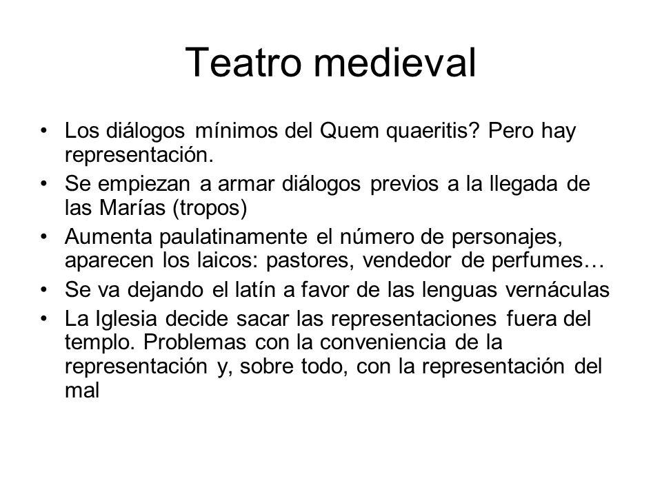 Teatro medieval Los diálogos mínimos del Quem quaeritis Pero hay representación.