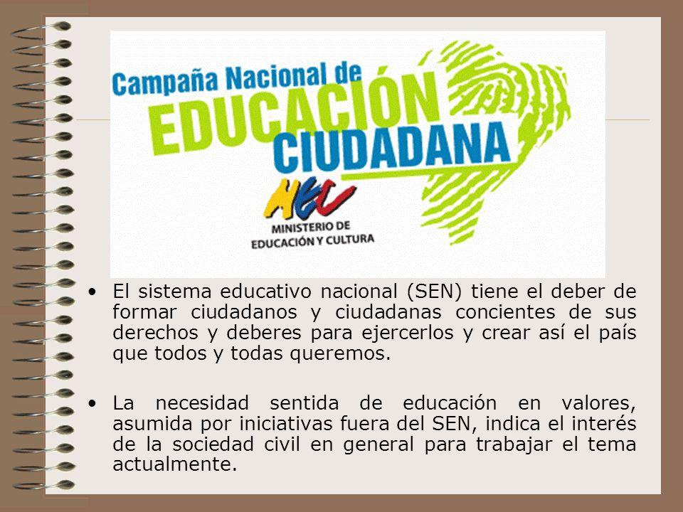 El sistema educativo nacional (SEN) tiene el deber de formar ciudadanos y ciudadanas concientes de sus derechos y deberes para ejercerlos y crear así el país que todos y todas queremos.
