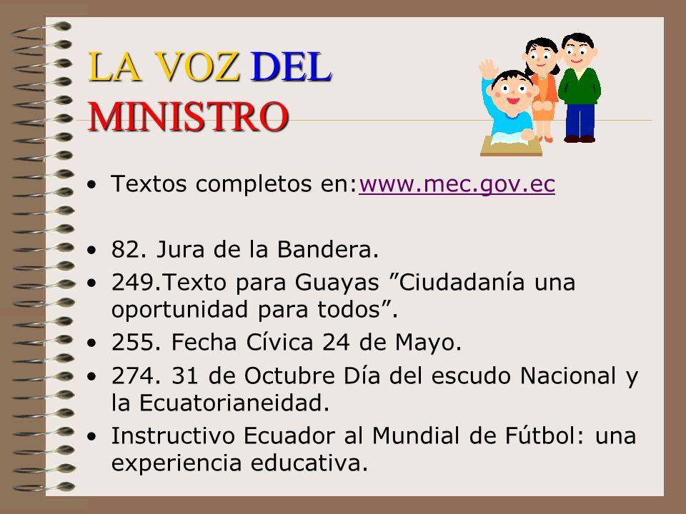 LA VOZ DEL MINISTRO Textos completos en:www.mec.gov.ec