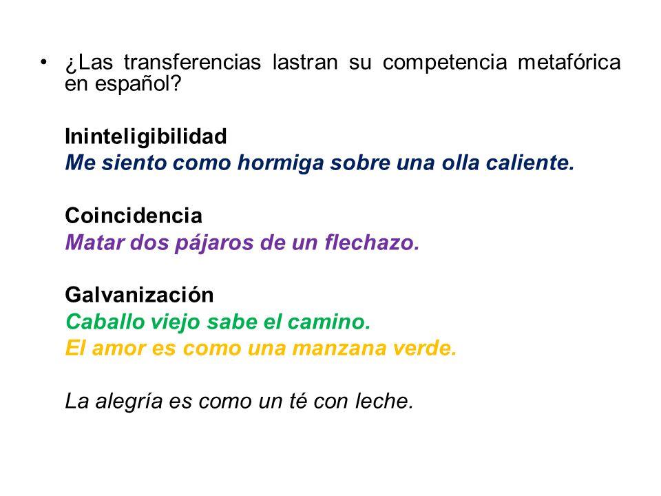 ¿Las transferencias lastran su competencia metafórica en español