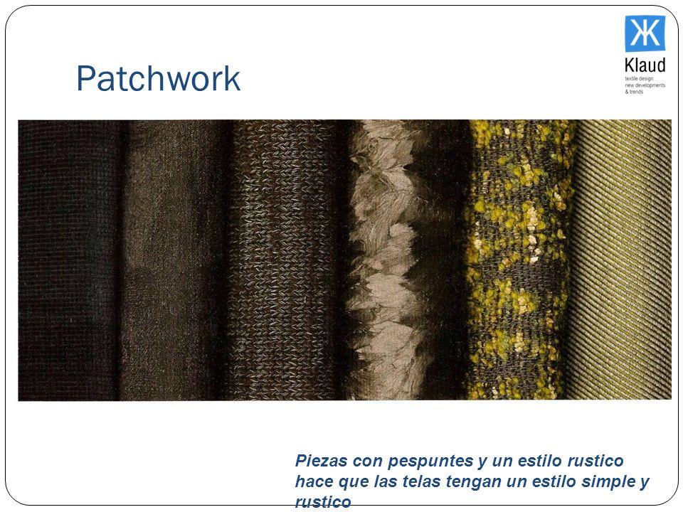 PatchworkPiezas con pespuntes y un estilo rustico hace que las telas tengan un estilo simple y rustico.