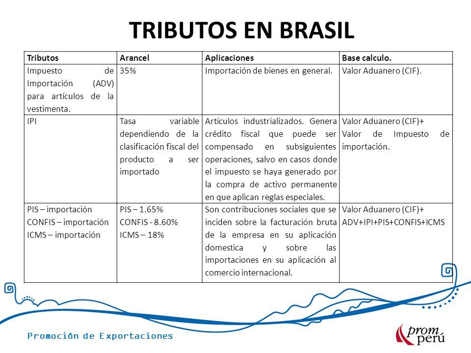 TRIBUTOS EN BRASIL Tributos Arancel Aplicaciones Base calculo.