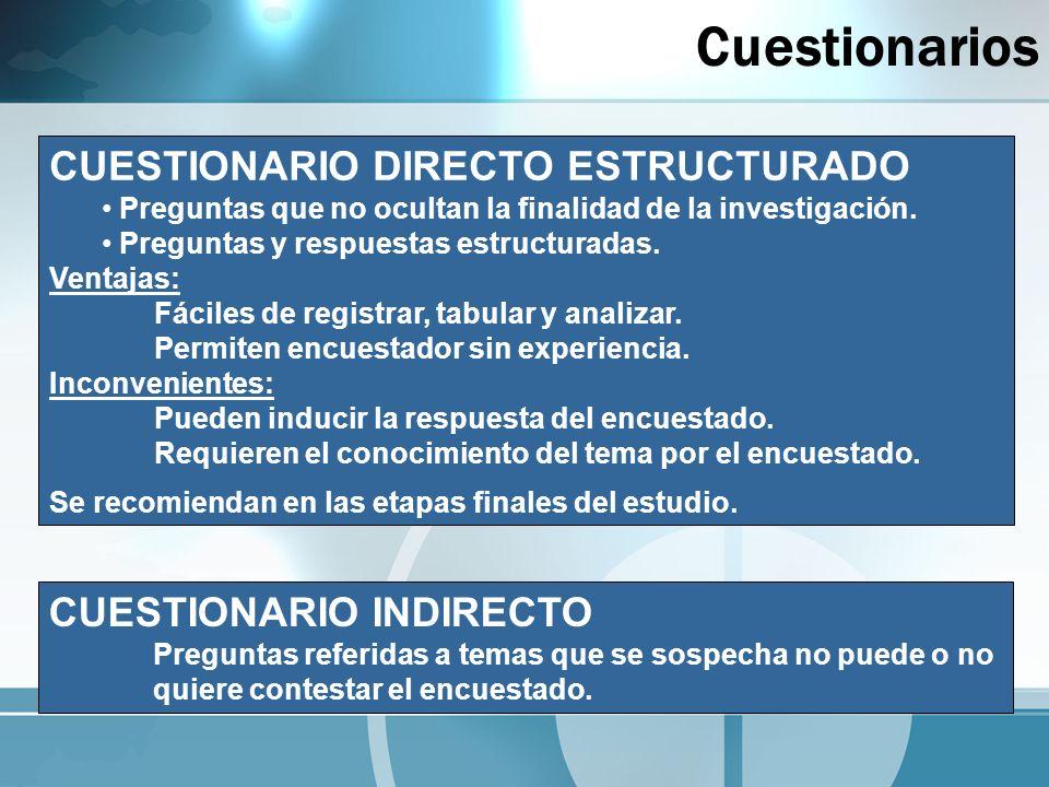 Cuestionarios CUESTIONARIO DIRECTO ESTRUCTURADO CUESTIONARIO INDIRECTO