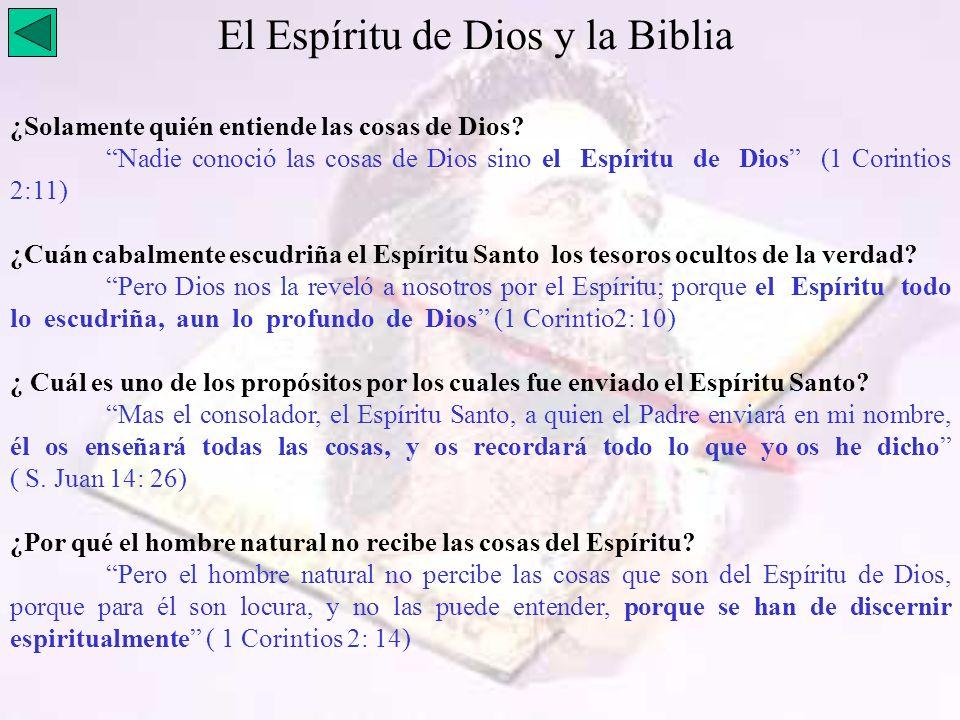 El Espíritu de Dios y la Biblia
