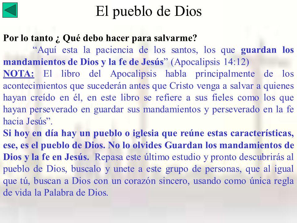 El pueblo de Dios Por lo tanto ¿ Qué debo hacer para salvarme
