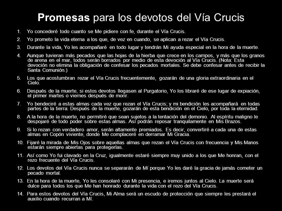 Promesas para los devotos del Vía Crucis