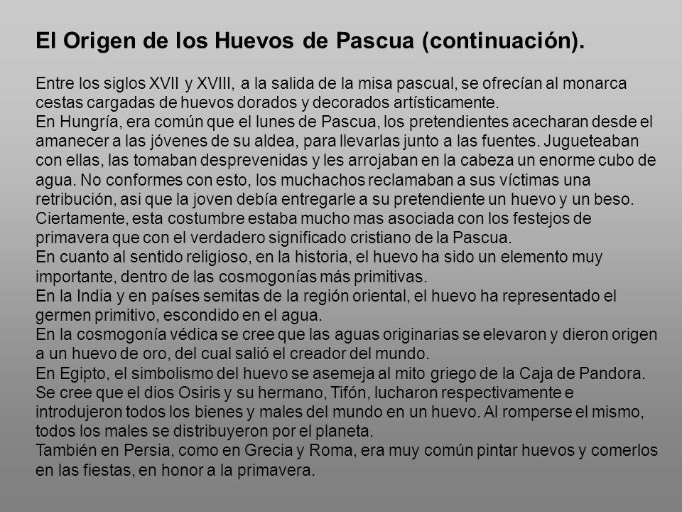 El Origen de los Huevos de Pascua (continuación).