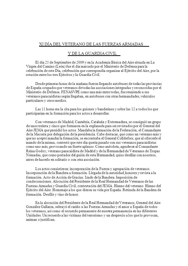 XI DÍA DEL VETERANO DE LAS FUERZAS ARMADAS