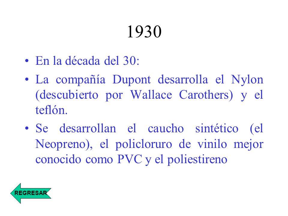 1930 En la década del 30: La compañía Dupont desarrolla el Nylon (descubierto por Wallace Carothers) y el teflón.