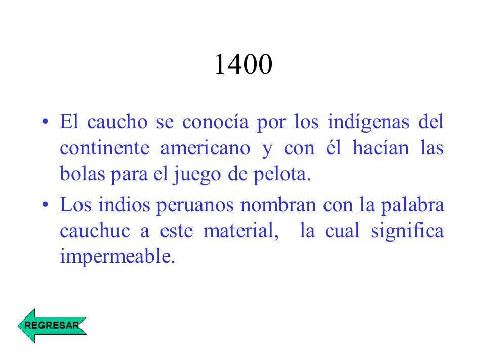1400 El caucho se conocía por los indígenas del continente americano y con él hacían las bolas para el juego de pelota.