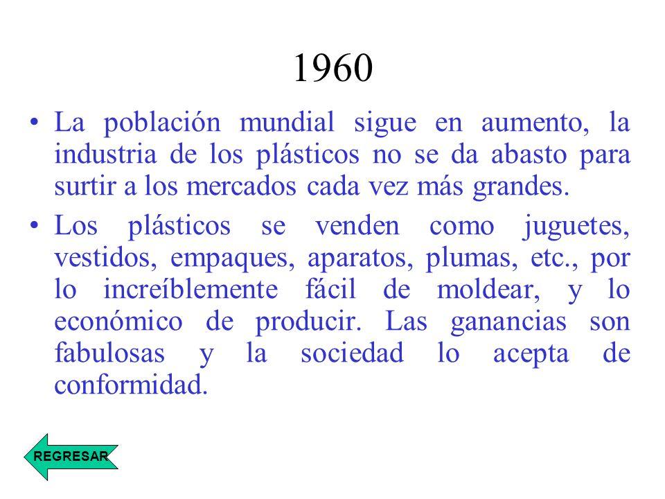 1960 La población mundial sigue en aumento, la industria de los plásticos no se da abasto para surtir a los mercados cada vez más grandes.